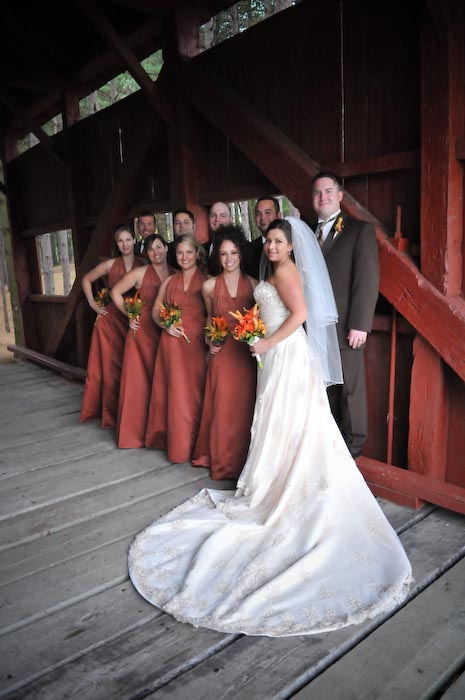 The bridal party went to Hanover Park for photos on a covered bridge.