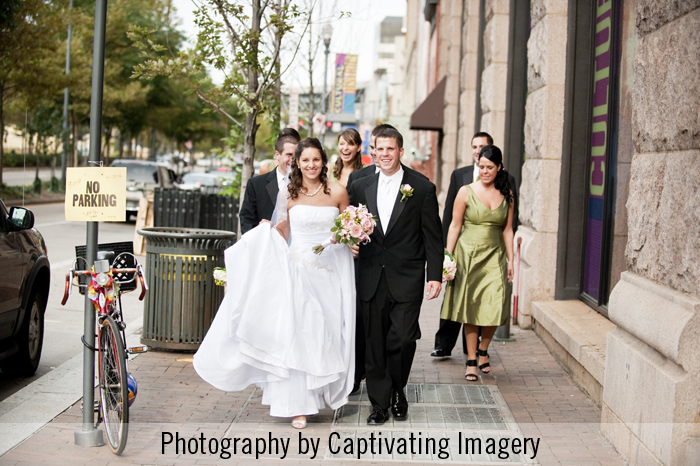 bridal party photo in downtown Pittsburgh