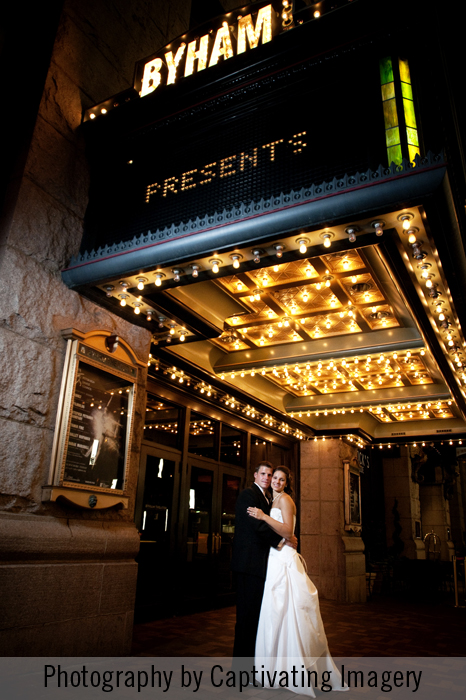 bride and groom portrait at Byham Theatre in Pittsburgh
