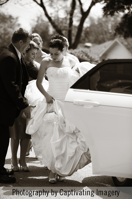 photo of a bride leaving for her Pittsburgh ceremony