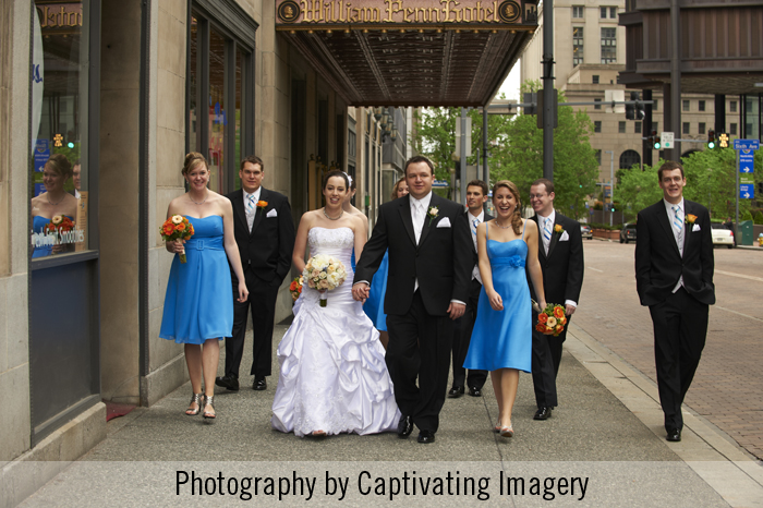 bridal party on Grant Street in Pittsburgh