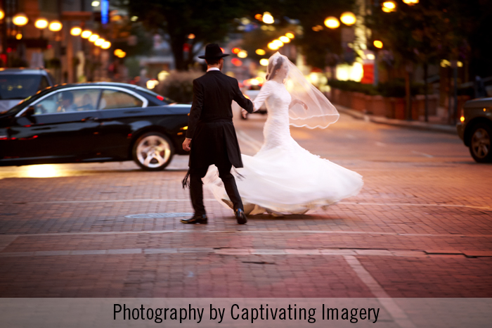 bride and groom crossing Grant Street