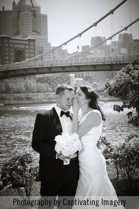 bride and groom by the Allegheny River