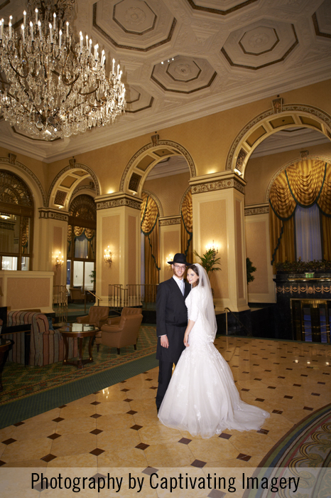Bride and Groom inside the Omni William Penn