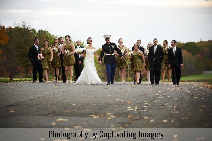 bridal party walking shot