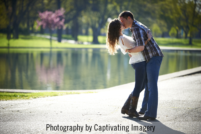 engaged couple at West Park in Pittsburgh