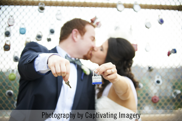 love lock bride and groom