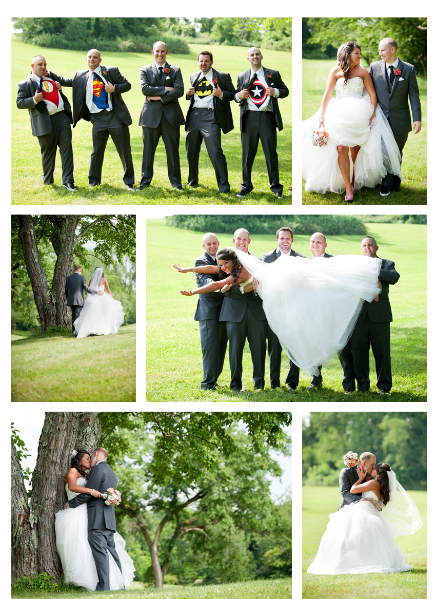 creative portraits, super hero groomsmen