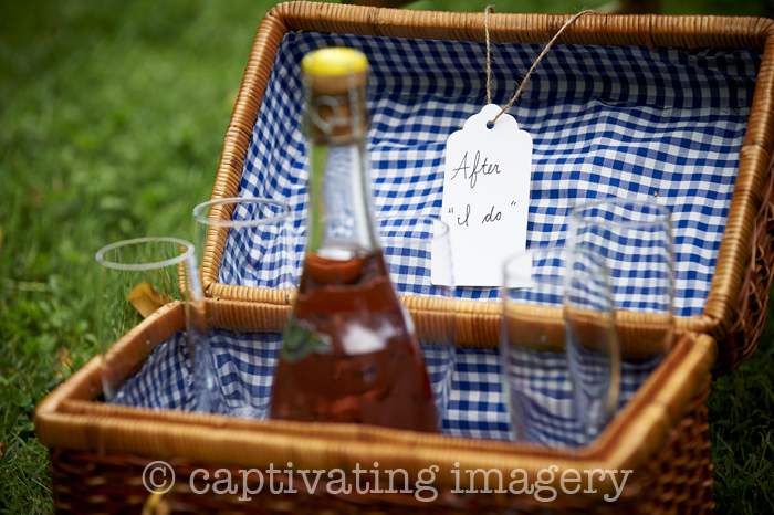 champagne in picnic baskets