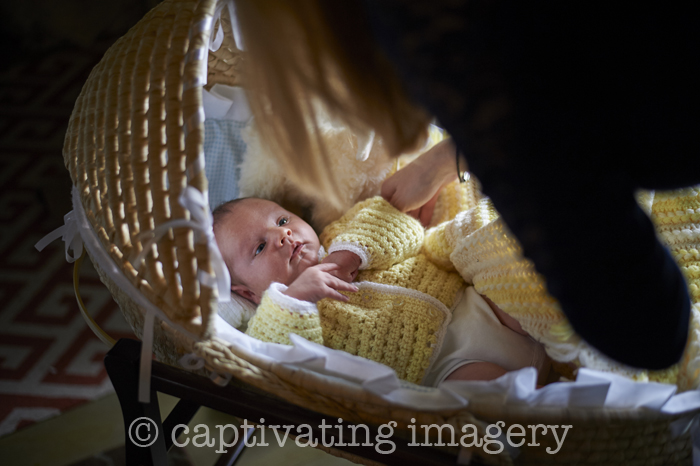 baby in Moses bassinet