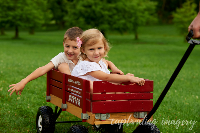 riding in a wagon