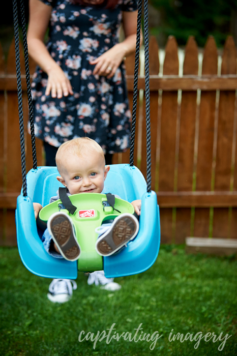 riding on his swing