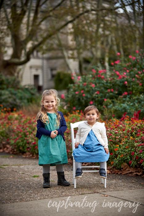 little girls by the garden