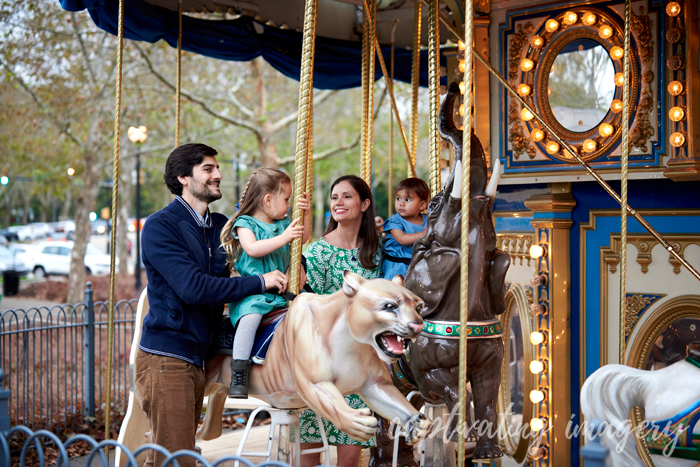 on the carousel in Schenley Oval